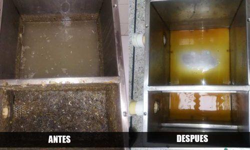 Limpieza de trampa grasas antes y después
